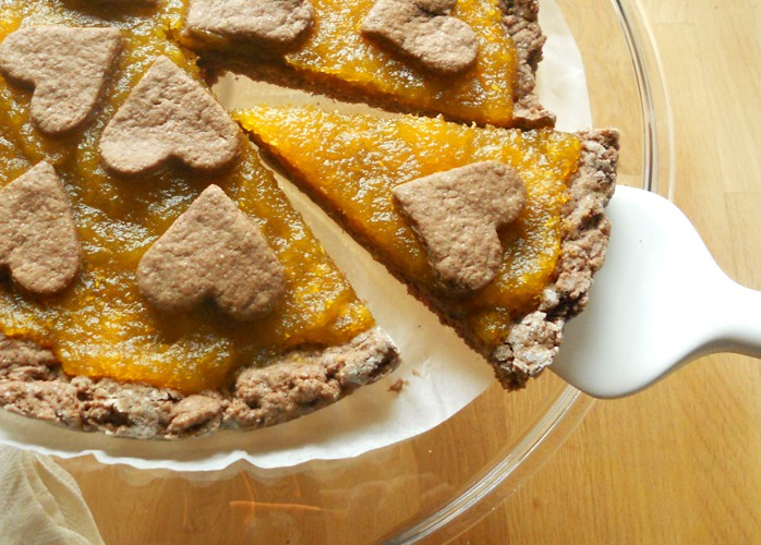 Crostata con frolla al cacao e confettura di zucca homemade