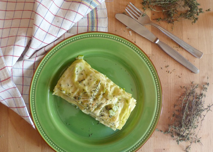 Lasagne senza latticini agli asparagi e timo