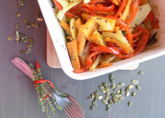 Verdure al forno con semi misti