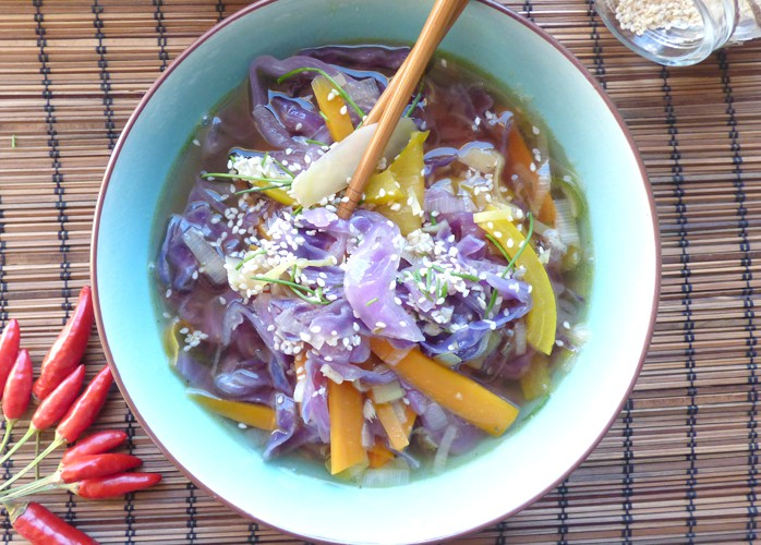 Zuppa piccante di miso con verdure