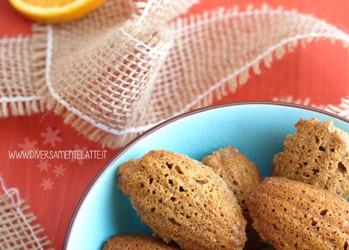 Madeleine al miele e arancia senza glutine e senza burro