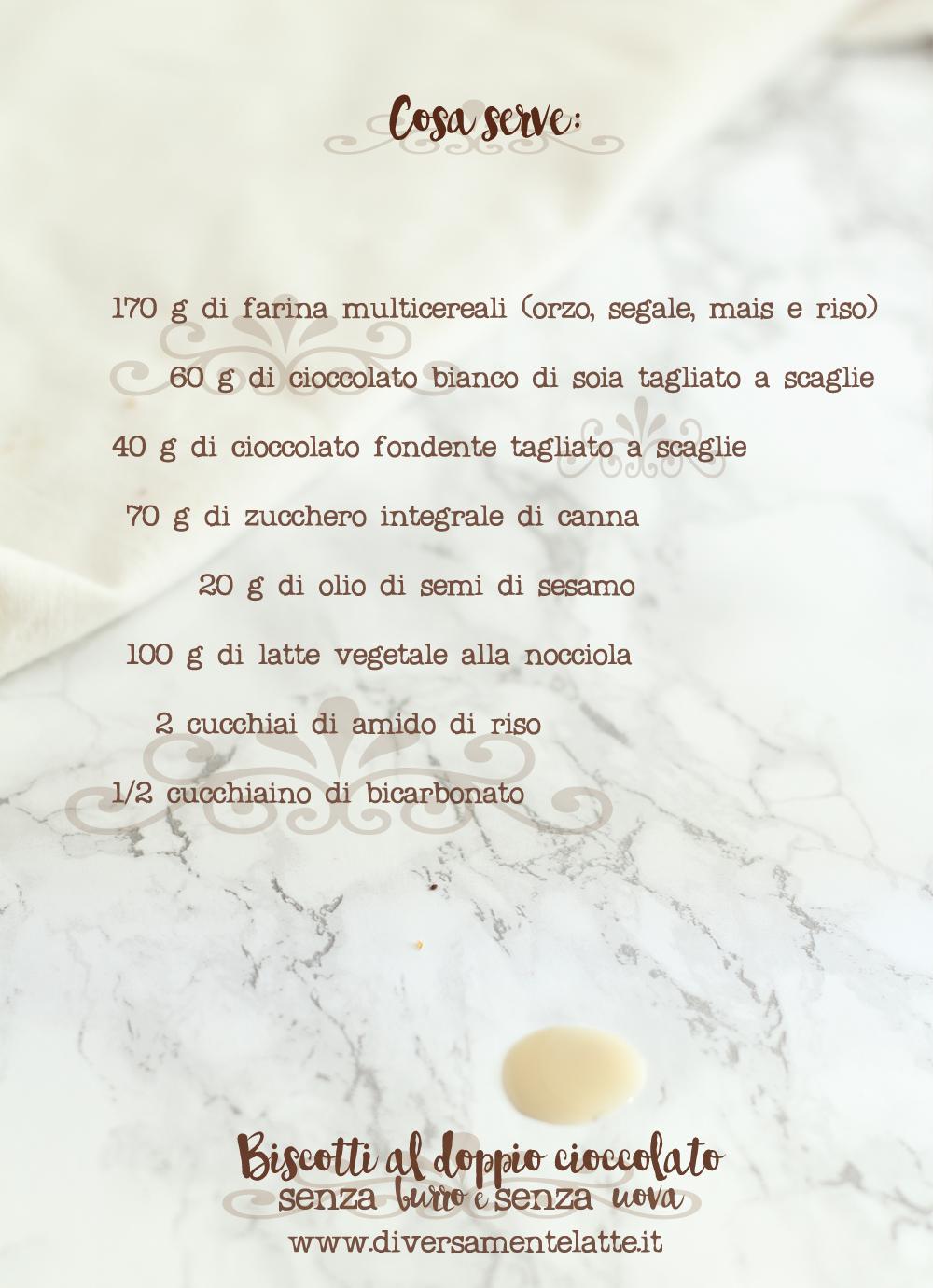 ingredienti biscotti al doppio cioccolato senza burro e uova