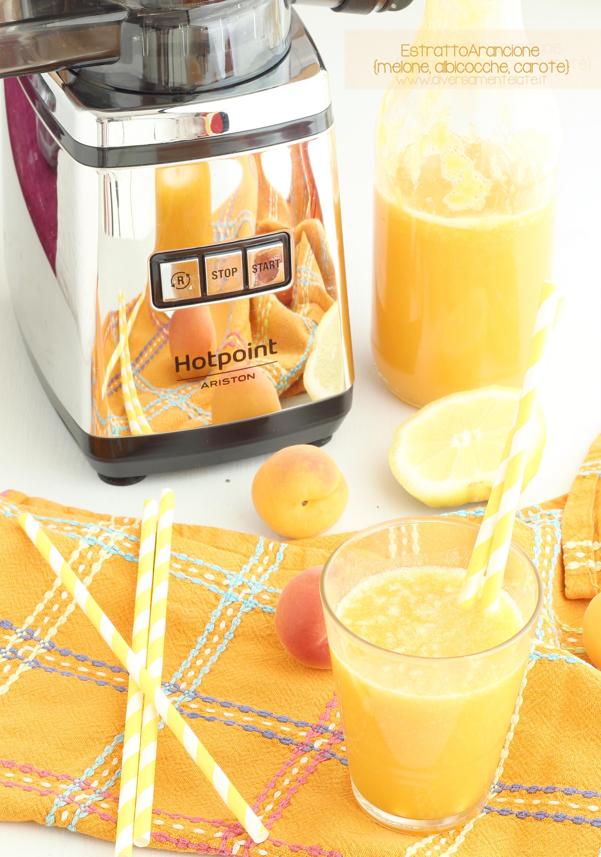 estratto arancione melone albicocche carote
