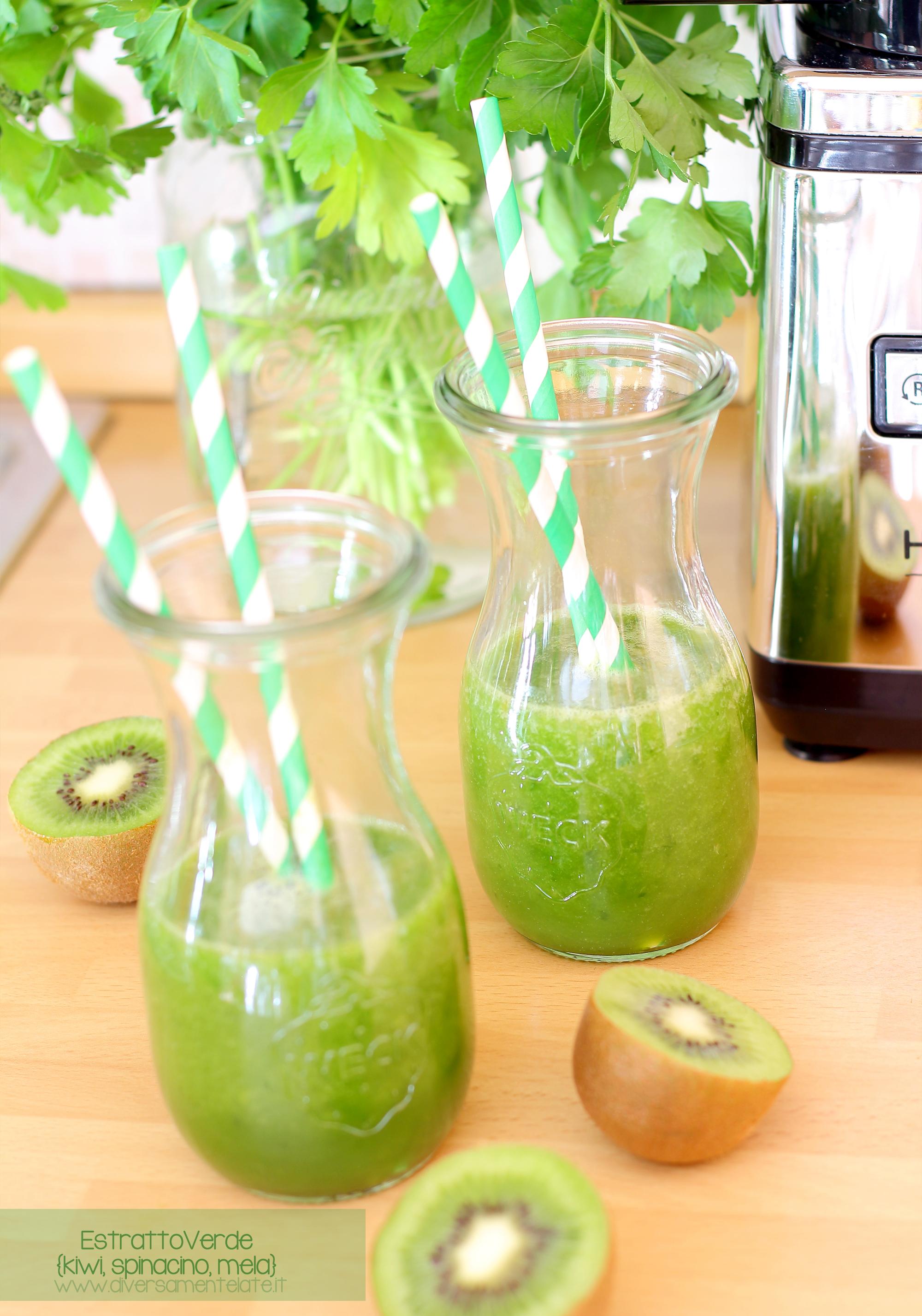 estratto verde kiwi spinacino mela