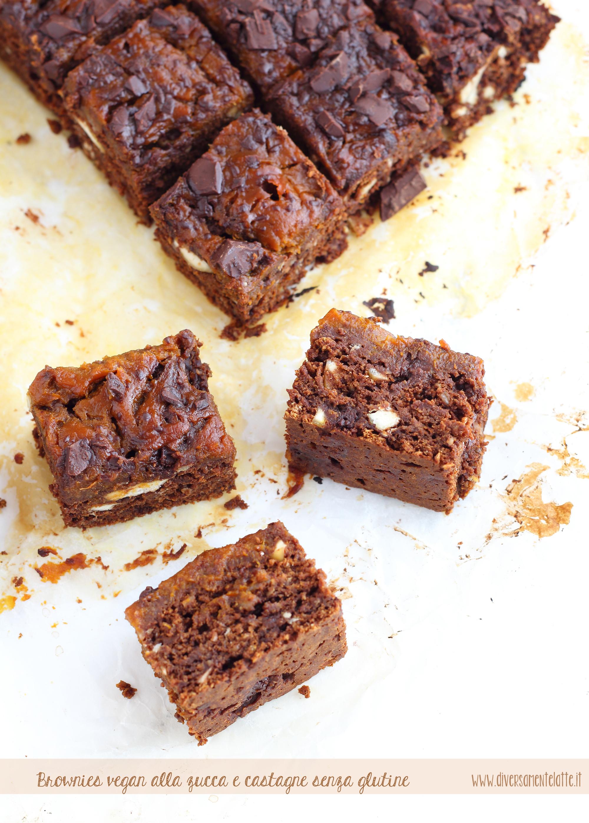 brownies zucca e castagne senza glutine senza lattosio