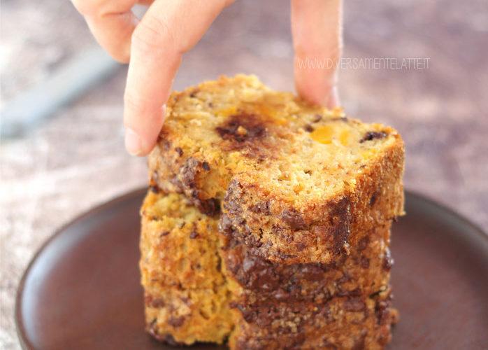 Plumcake alla zucca, arancia e cioccolato senza burro e senza uova