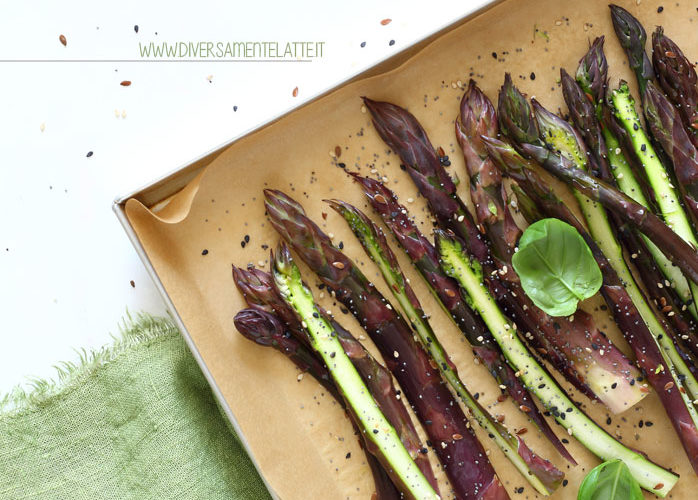 Asparagi viola arrostiti