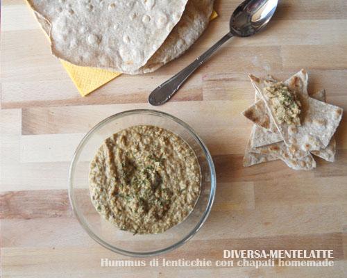 Hummus di lenticchie con chapati homemade