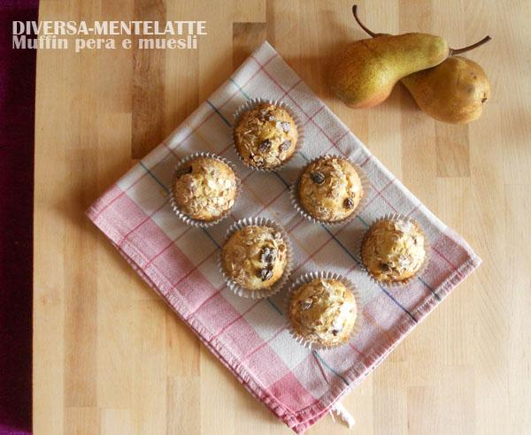 Muffin alla pera e muesli
