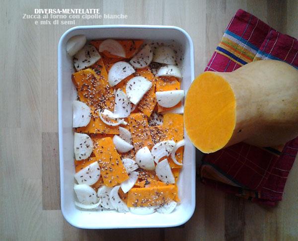 Zucca e cipolla bianca al forno con mix di semi