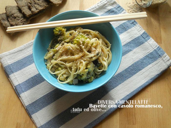 bavette con romanesco tofu ed olive