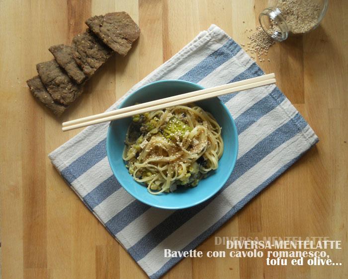 bavette con romanesco tofu olive