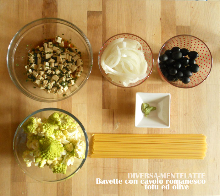 ingredienti bavette romanesco tofu olive