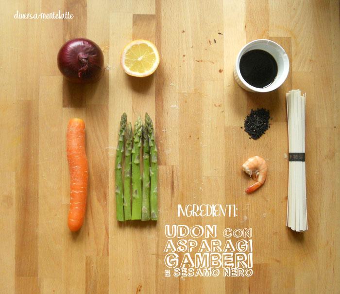 Ingrdienti udon asparagi gamberi sesamonero