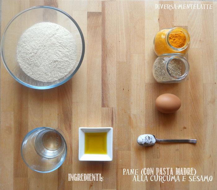 Ingredienti pane con pasta-madre curcuma e sesamo