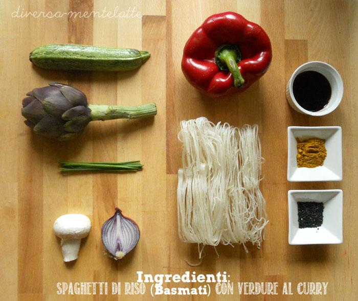 Ingredienti spaghetti di riso con verdure al curry
