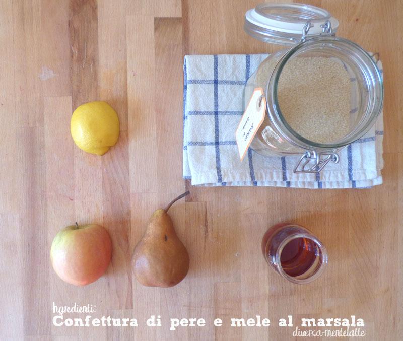 Ingredienti confettura pere mele al marsala