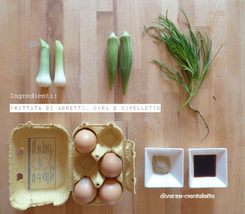 Ingredienti frittata agretti ocra cipollotti