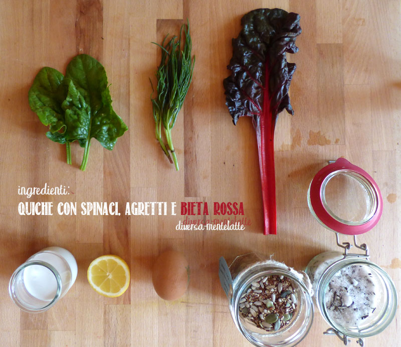 Ingredienti quiche spinaci agretti bieta rossa