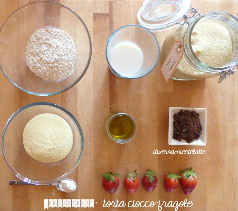 Ingredienti torta-ciocco-fragole