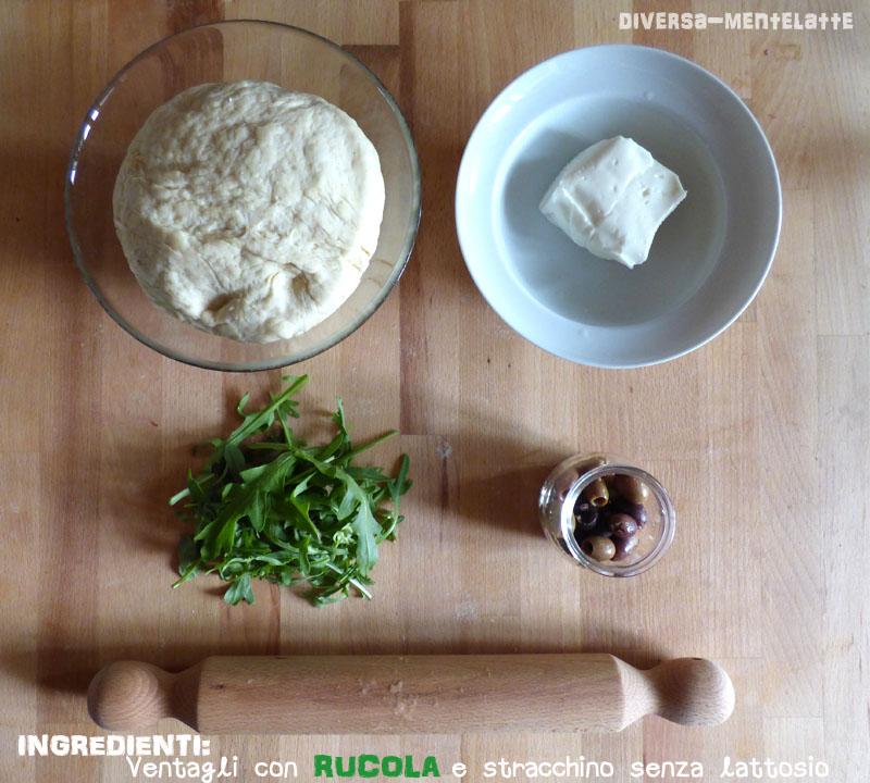 Ingredienti-ventagli con rucola e stracchino