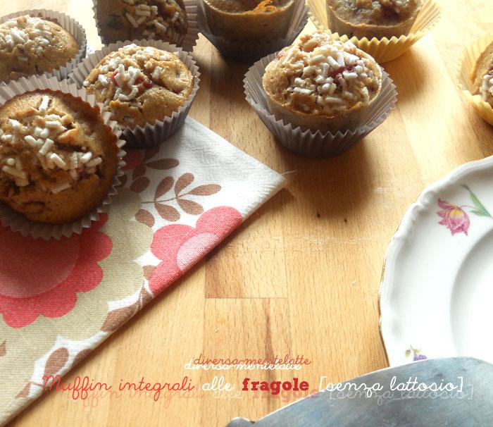 Muffin integrali alle fragole e senza lattosio