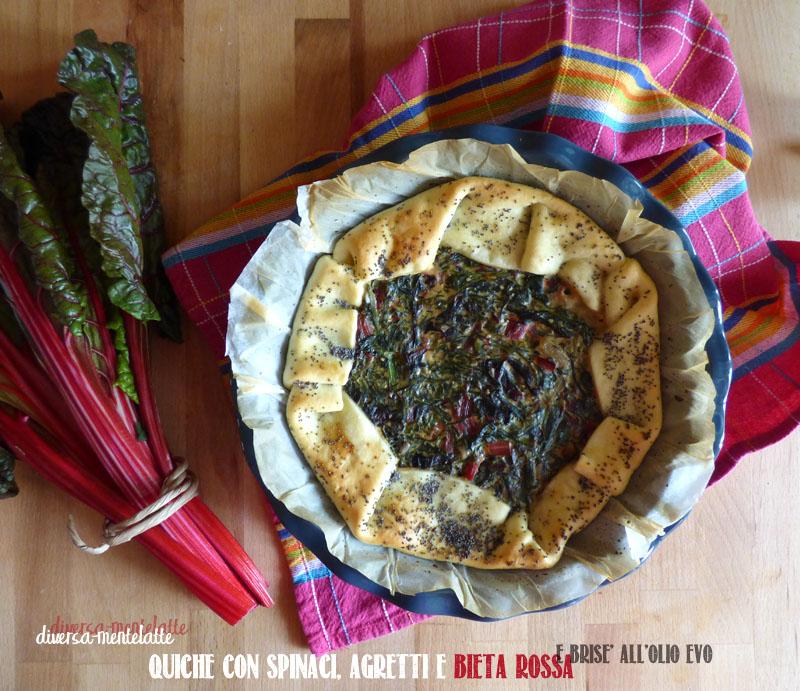 Quiche con spinaci agretti bieta rossa