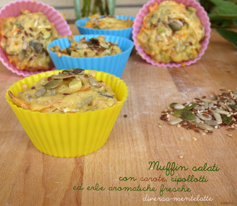 Muffin salati con carote e cipollotti erbe aromatiche