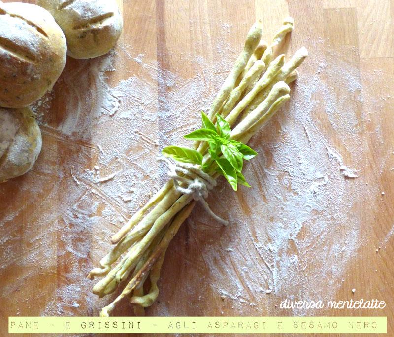 Pane e grissini agli asparagi con pasta madre