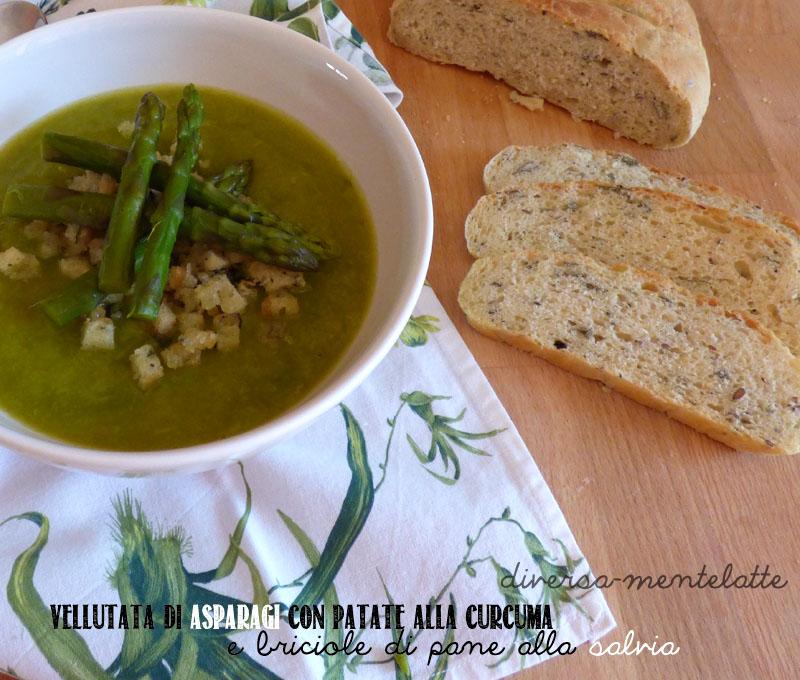 Vellutata asparagi e patate curcuma e briciole pane