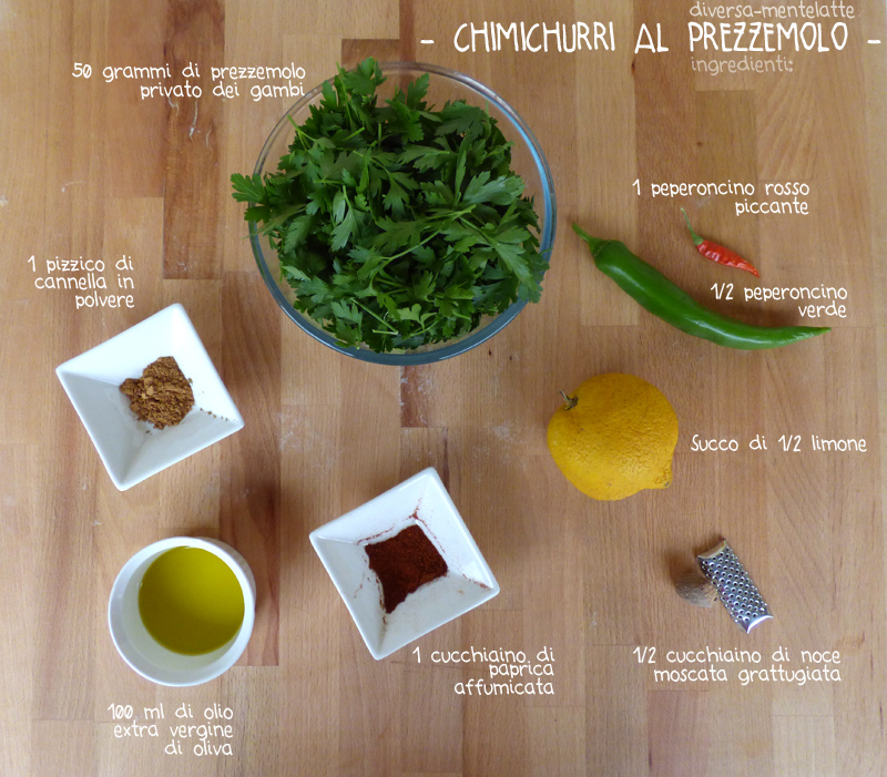 Ingredienti chimichurri al prezzemolo