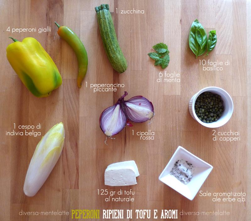 Ingredienti peperoni ripieni di tofu e aromi