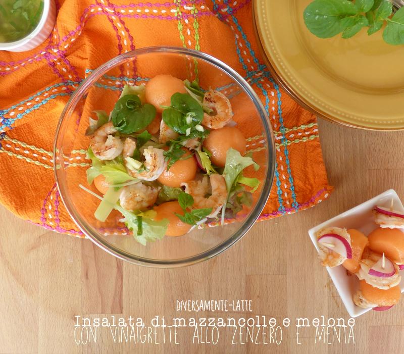 Insalata di mazzancolle e melone e vinaigrette