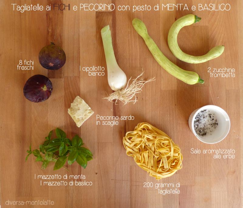 Ingredienti tagliatelle ai fichi e pecorino con pesto