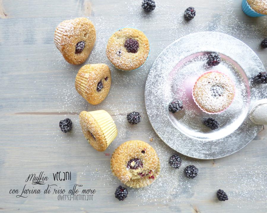 Muffin con farina di riso e more