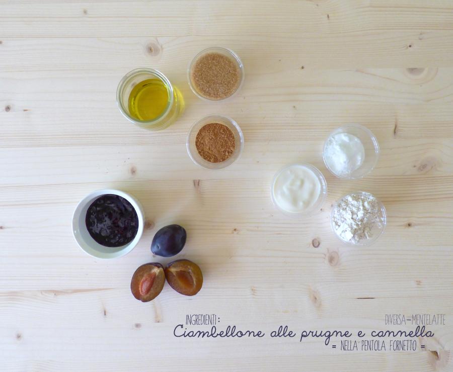 ingredienti ciambellone prugne cannella pentola fornetto