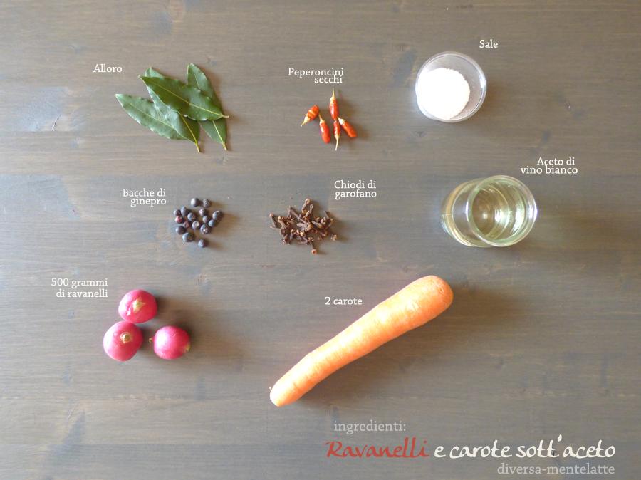 ingredienti ravanelli carote otto aceto