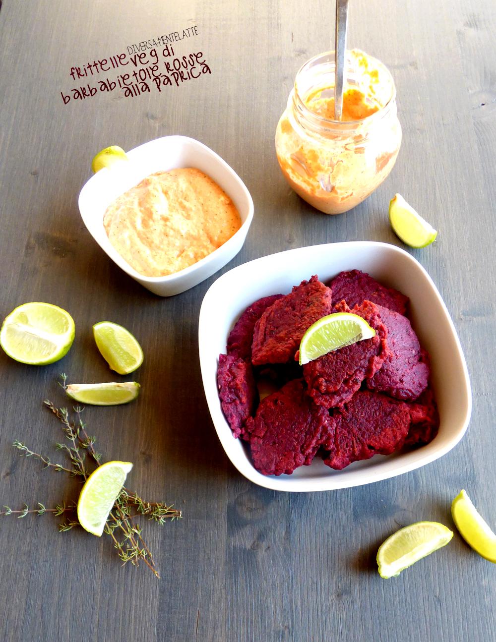 frittelle veg di barbabietole rosse con salsa