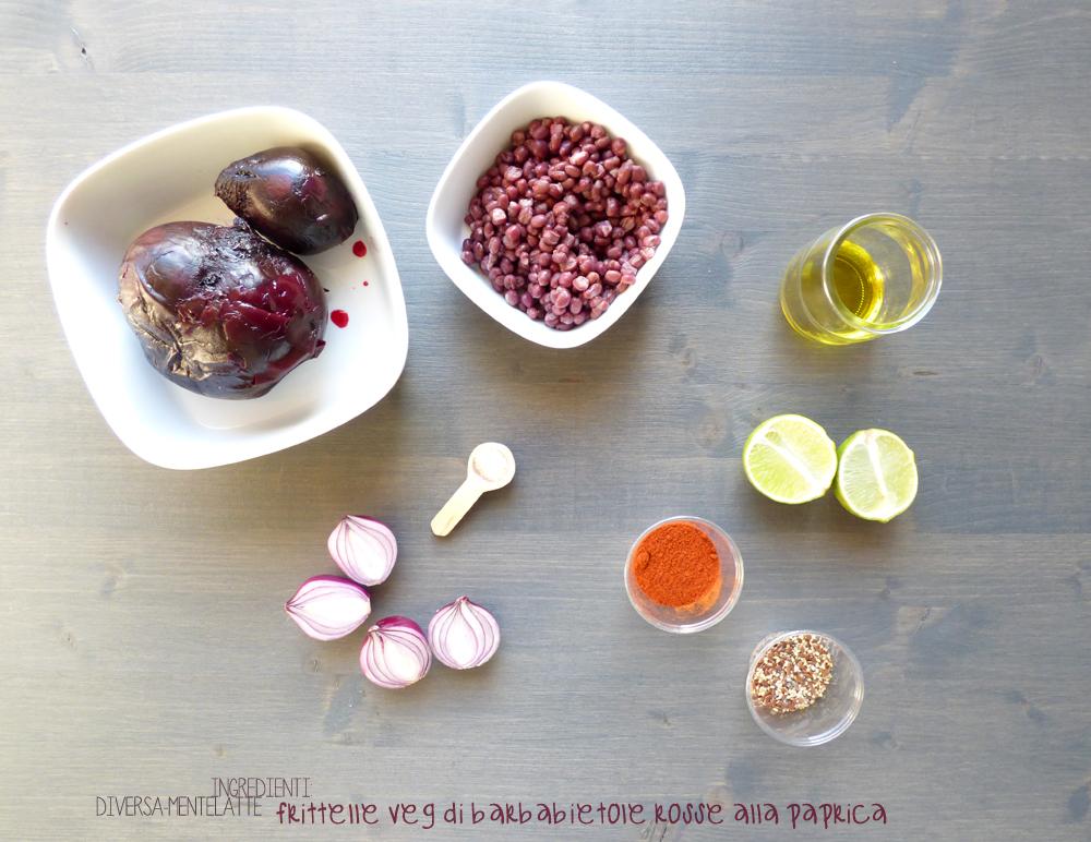 ingredienti frittelle veg di barbabietole rosse