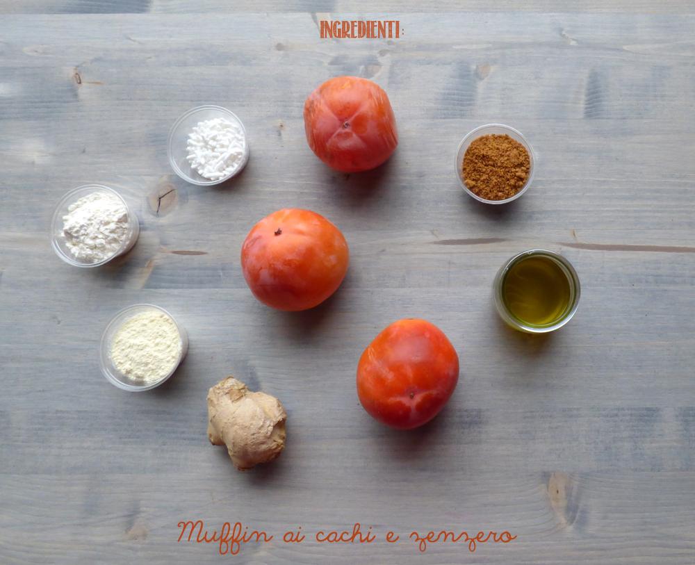 ingredienti muffin ai cachi e zenzero