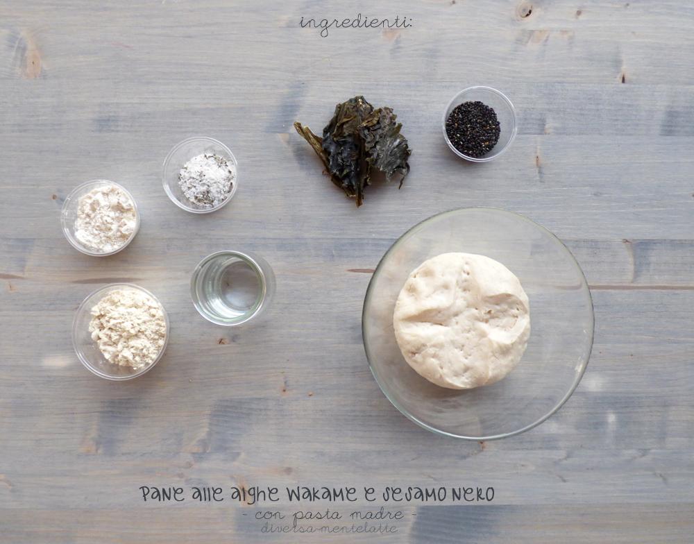 ingredienti pane alle alghe wakame e sesamo nero con pasta madre