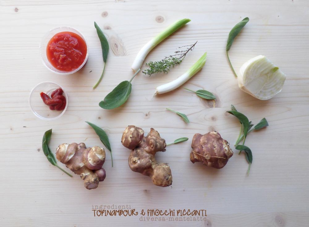 ingredienti topinambour e finocchi piccanti