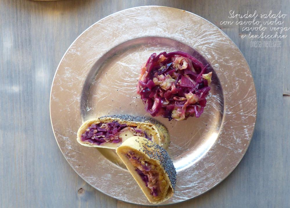strudel salato con cavolo viola e cavolo verza