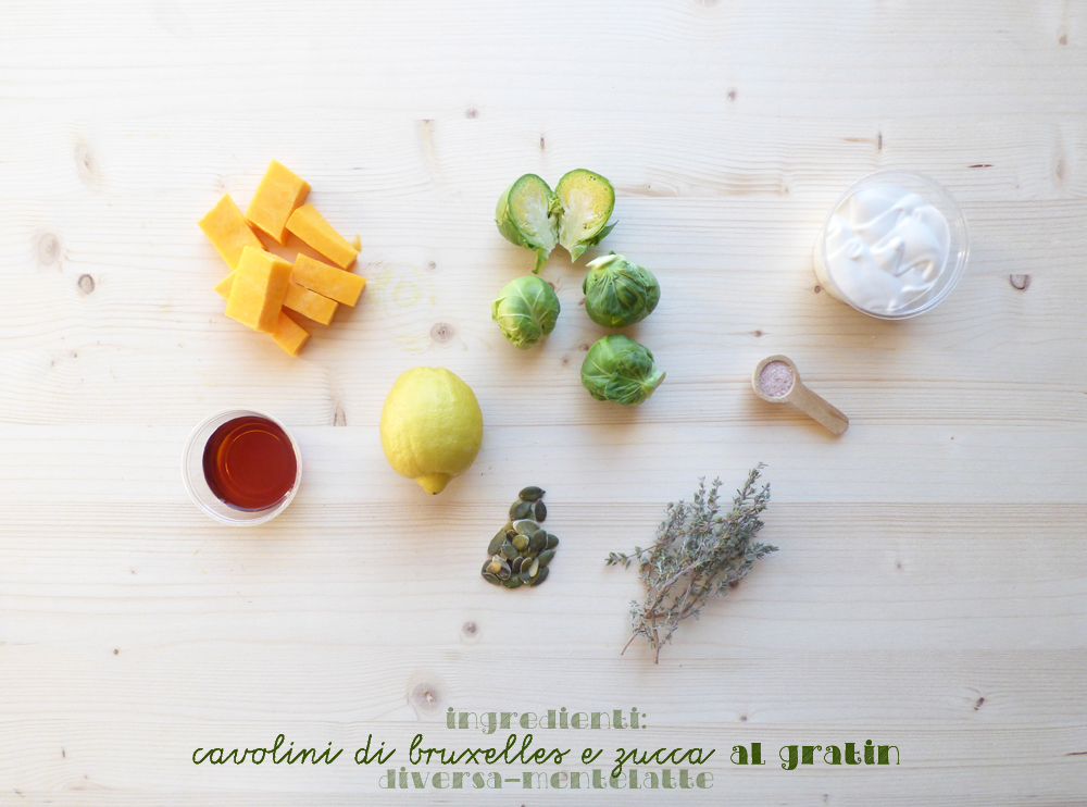 ingredienti cavolini di bruxelles e zucca al gratin