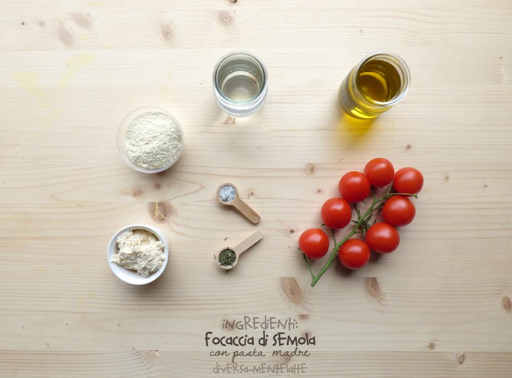 ingredienti focaccia di semola con pasta madre