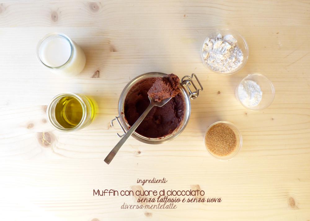 ingredienti muffin con cuore di cioccolato