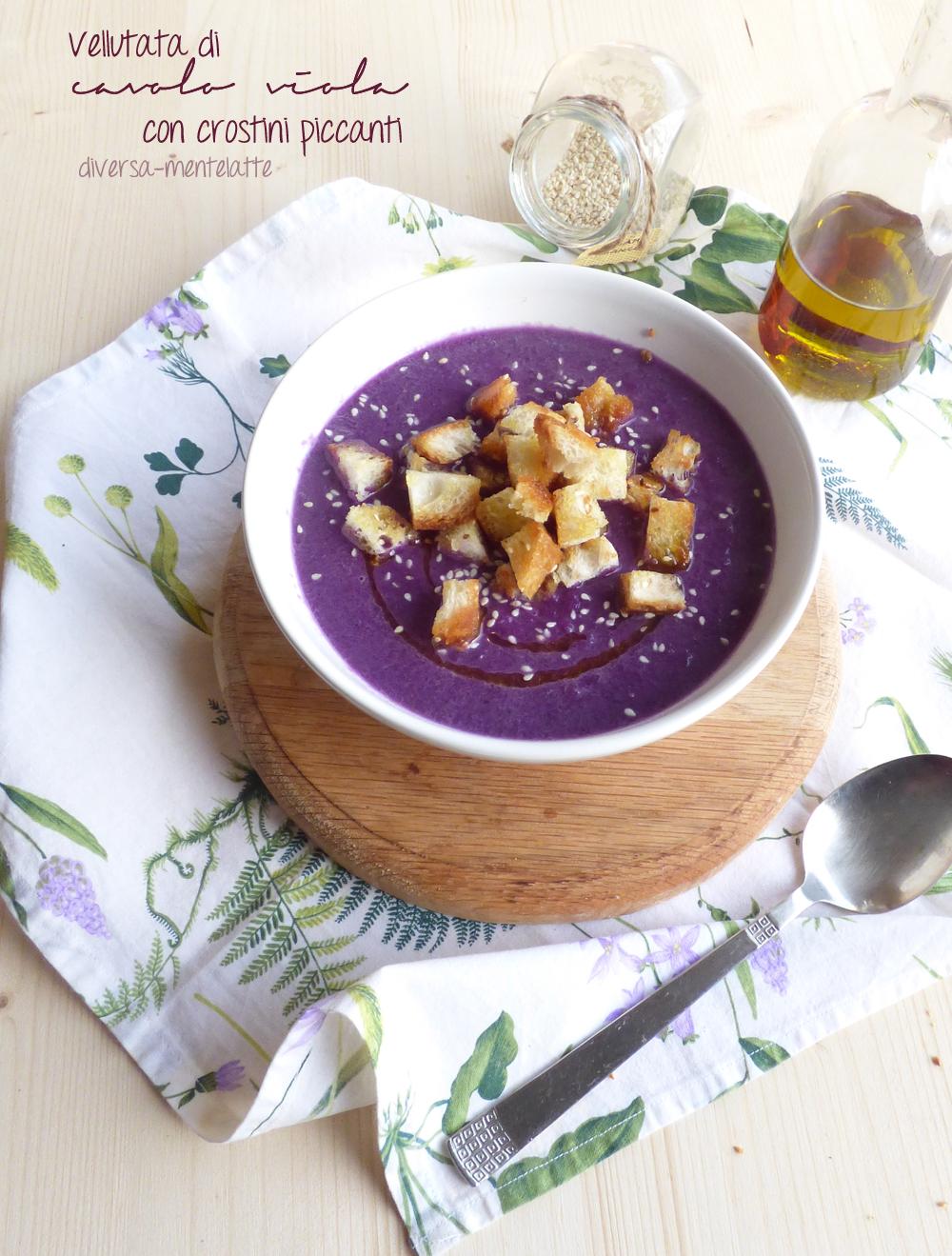 vellutata di cavolo viola e crostini piccanti