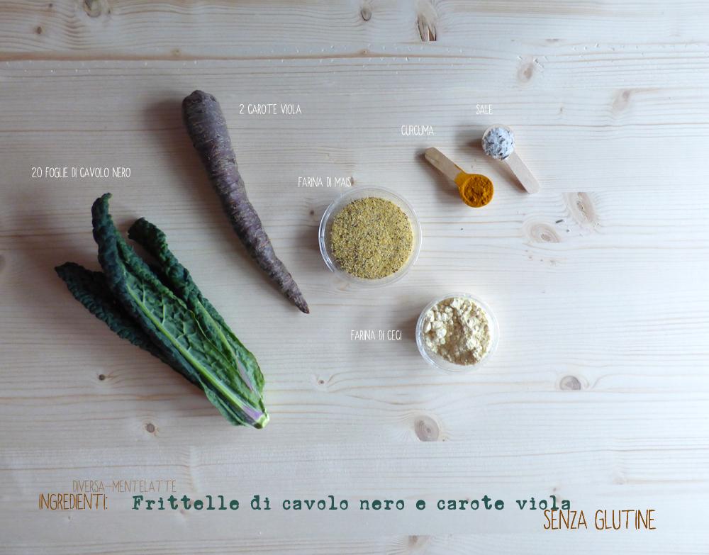 ingredienti frittelle di-cavolo nero e carote viola