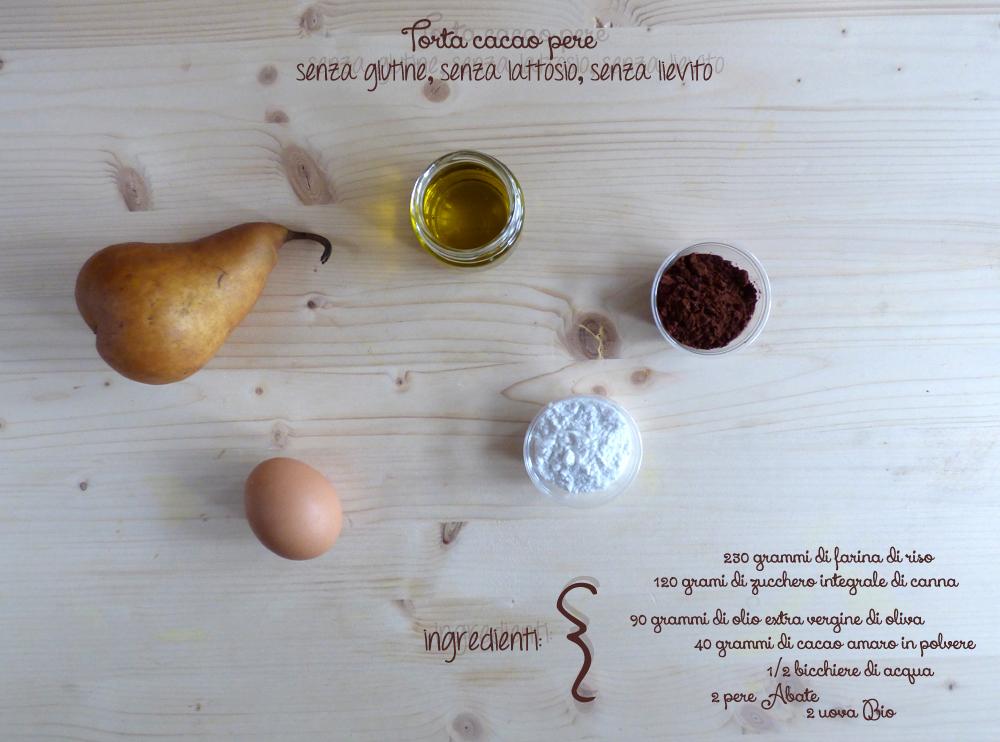 ingredienti torta cacao pere senza glutine