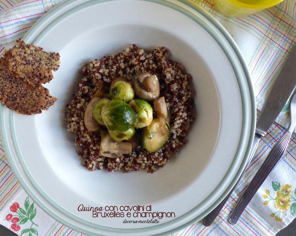 quinoa con cavolini di bruxelles e champignon